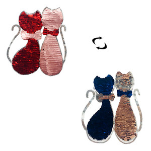 Color Changing Sequins Reversible Sew Iron on Embroidered Patches Cat Clothing Stickers DIY Applique on Clothes PE156