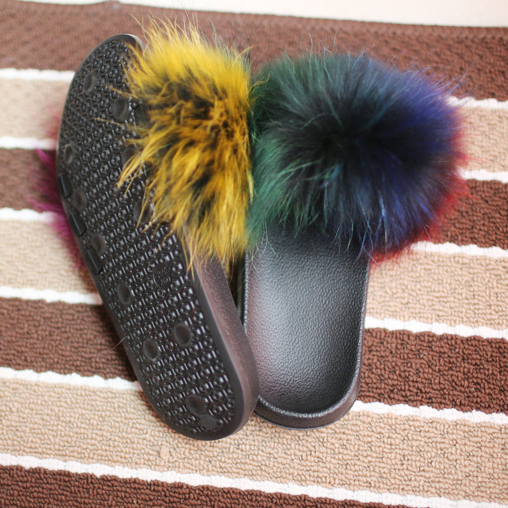 wholesale plush custom fox fur lady <strong>slippers</strong> for women