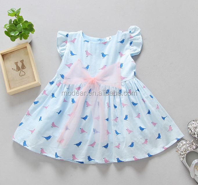 2018 summer children clothing short sleeve adorable bird pattern beautiful baby dress