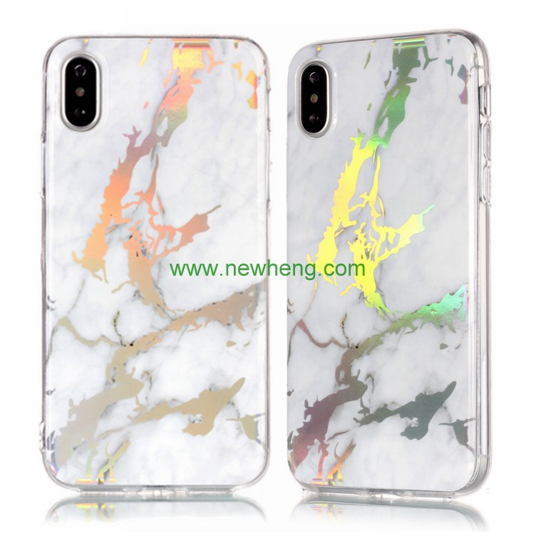 Laser marble phone case cover TPU phone accessories soft IMD case for iPhone x