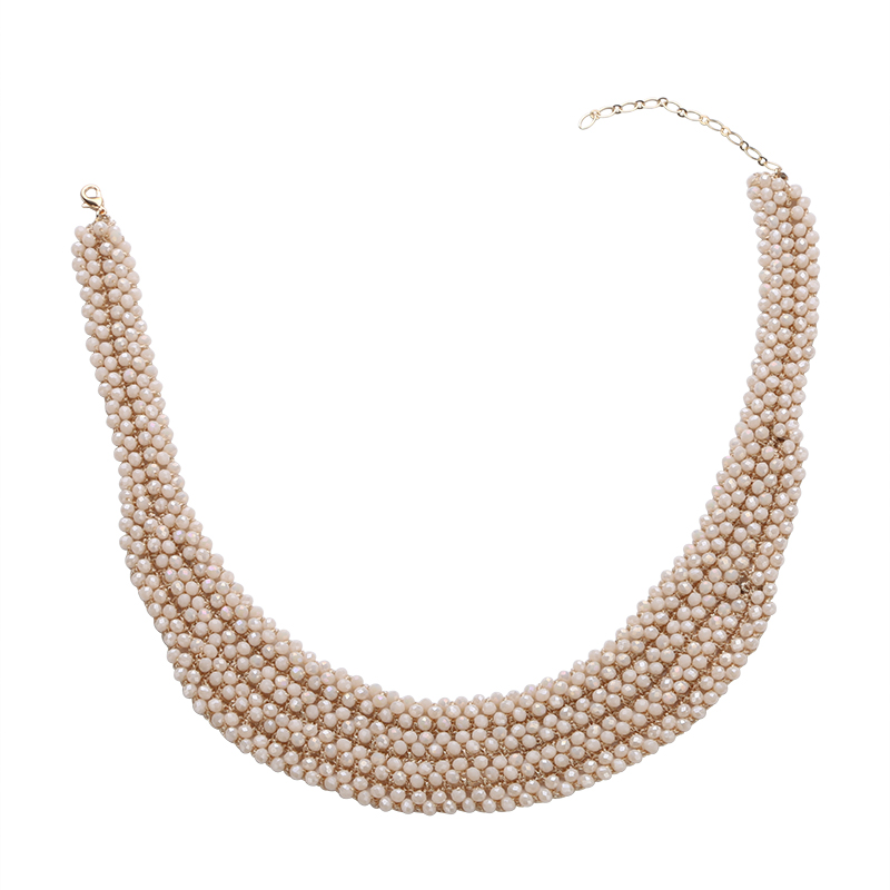 Faceted crystal beads gold necklace set designs several layers gold chain choker necklace