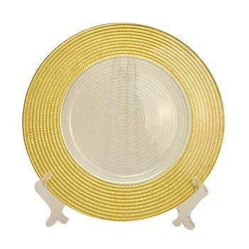 Clearly glass yellow charger plates with decoration