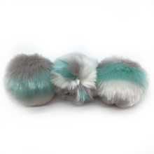 Wholesale Colorful Stripe Faux Fur Pom Poms With Snap Fastener For DIY Baby Beanie Knitted Hats
