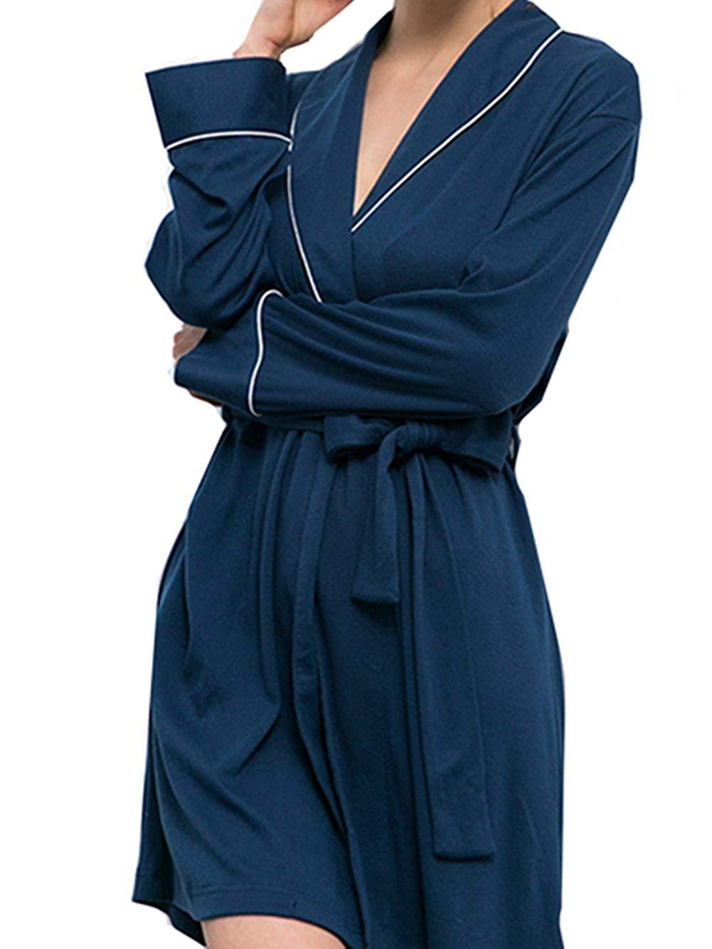 Get Quotations · ZEAMO Women Cozy Knee Length Cotton Bath Robes Lightweight  Bathrobe 04d8f799e
