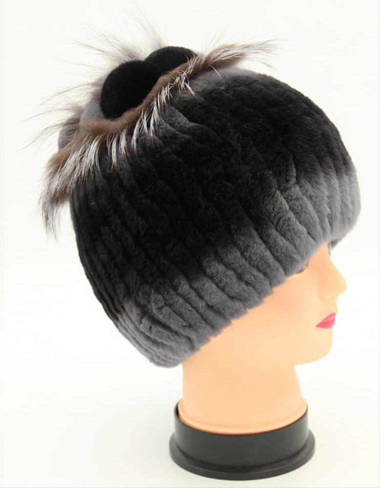 factory wholesale 6 colors winter women funny rex rabbit fur hat with silver fox fur trim