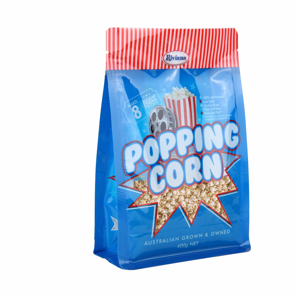 Flat Bottom Ziplock Food Pouch Snack Plastic Clear For Custom Logo Popcorn Packaging Bags
