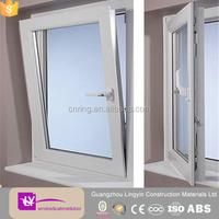 2015 white upvc vinyl two way open window with double glaze glass manufacturer in guangzhou