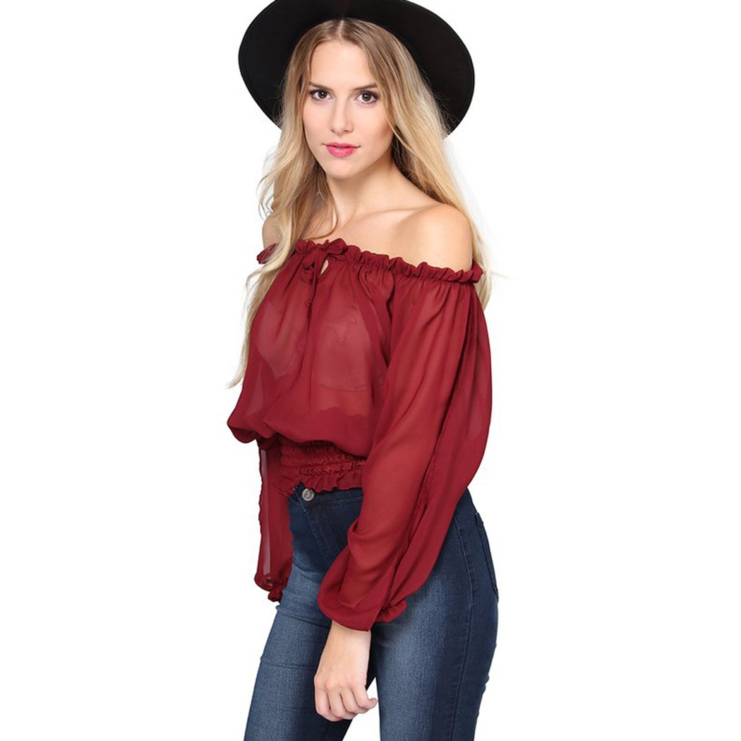 0f8b9752fd9a3a Buy 2015 New Women Blouse Square Neck Long Sleeve Top Solid Color Casual  Slim Beam Waist Blusa Femininos Plus Size Camiseta in Cheap Price on  m.alibaba.com