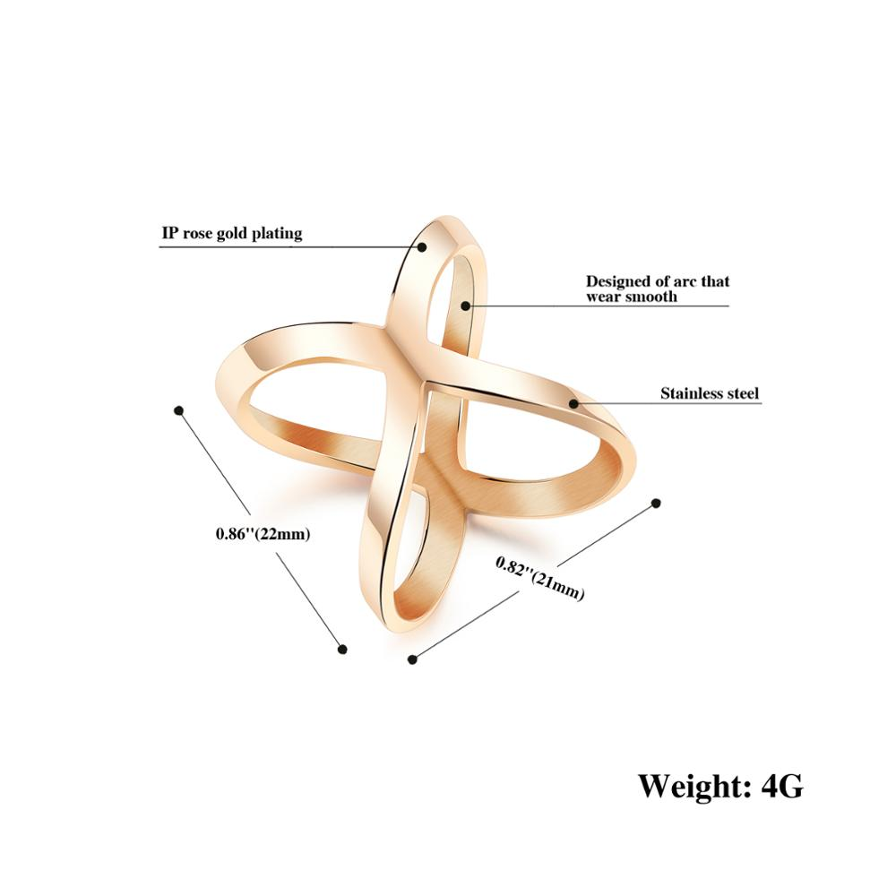 Wholesale Custom Women Stainless Steel Jewelry X Shape Design Rose Gold Ring