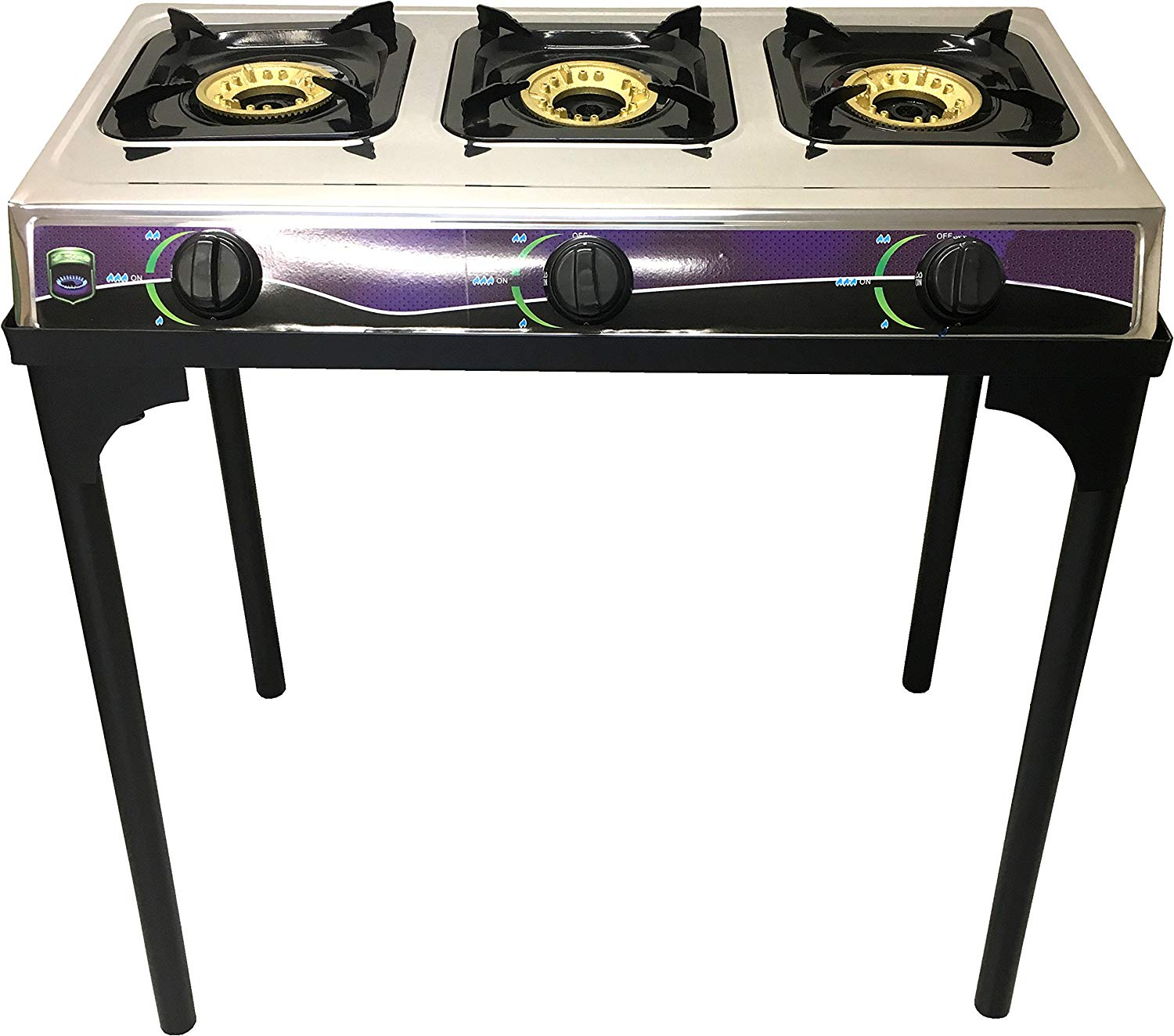 3b423ca2700 Get Quotations ·  1 Heavy Duty Three Burner Propane Gas Stove Outdoor  Cooking Butane Gas Stove Full Stainless
