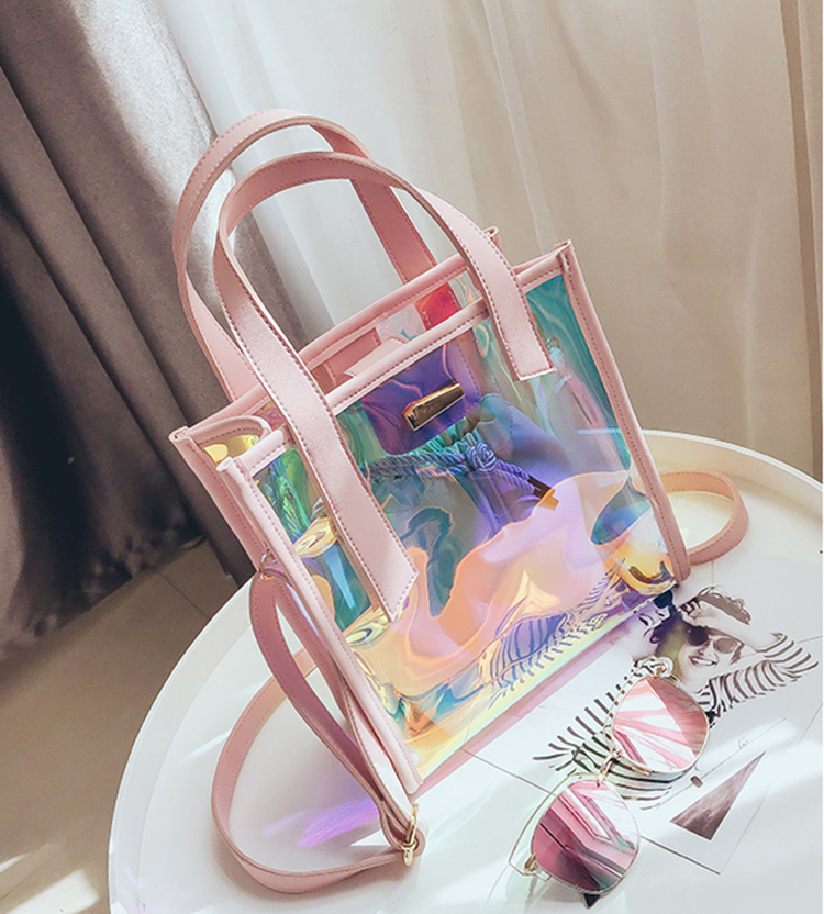 Moda sereno laser shopping beach bag IN PVC trasparente delle donne tote bag