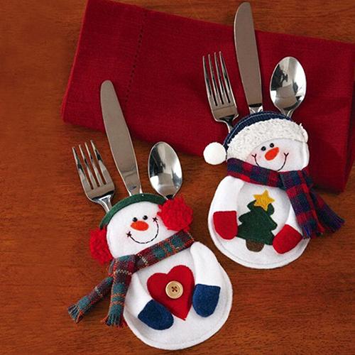 Popular 2Pcs Snowman Silverware Fork Knife Holder Pocket Christmas Home Decor Smile Cutlery Pouch