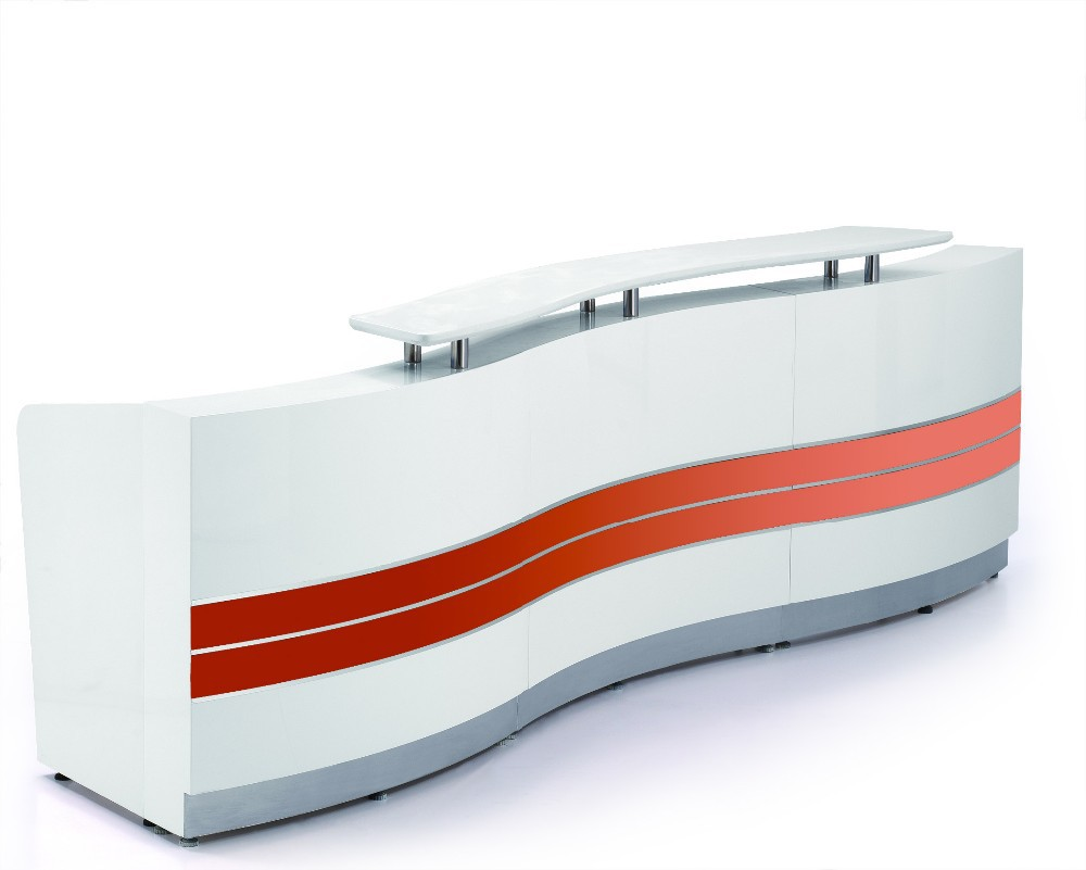 2015 gloss white 2.5m reception counter for beauty salon reception desk