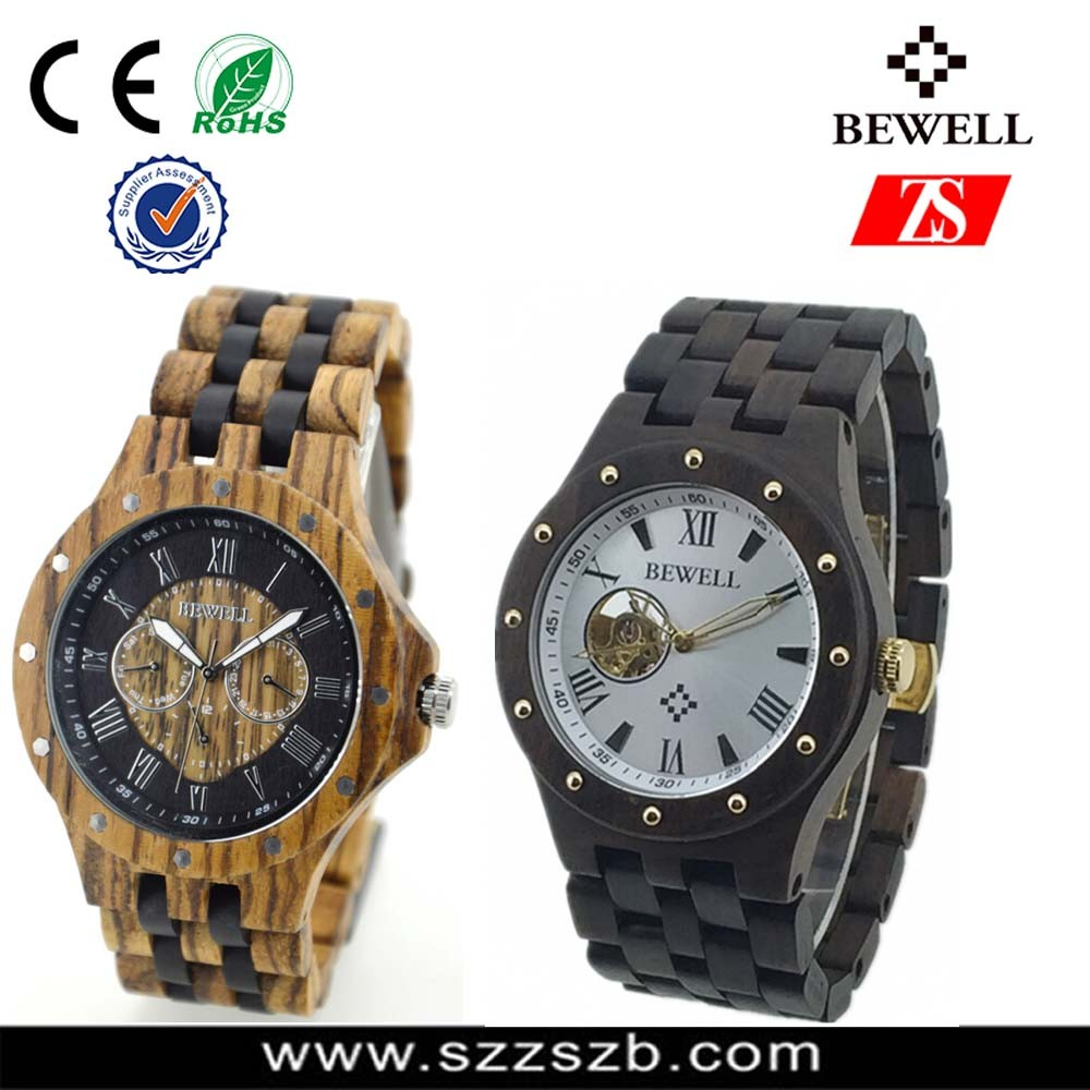 Custom Japan Movement hand Made Black Wooden Watch Waterproof Wooden Wrist Watch For Man And Woman