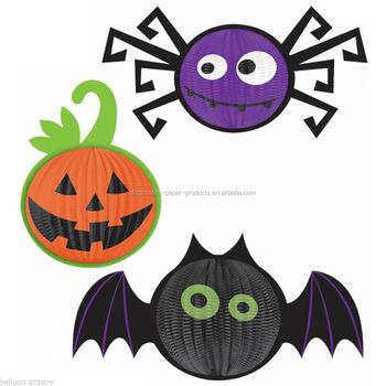 halloween party supplies paper decorations halloween paper accordion lanterns halloween bat spider pumpkin 3d hanging decoration