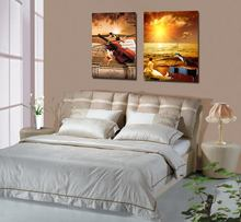 Dafen Angel Baby Nude 2 Pieces natural Sea sunrise Scenery Canvas Oil Painting of Sea Scenery