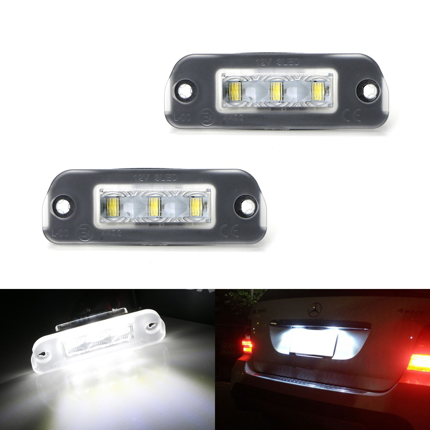 iJDMTOY Xenon White CAN-bus 3-LED License Plate Lights Assy For Mercedes-Benz ML M GL R Class Diesel Version (W164 X164 W251)