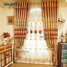 Tab top curtain with embroidery design and highly blackout curtain fabric