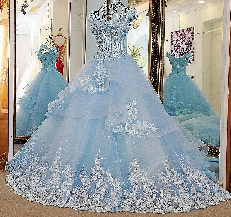 Wedding Dress Ball Gown Top Quality Beaded Crystals with 3D Flowers Corset Lacu Up Back Ice Blue Wedding Gown Formal Evening