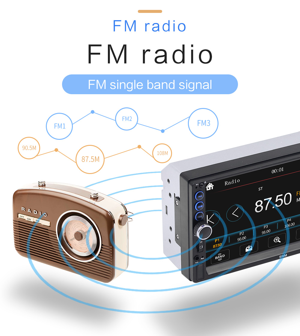 2 din 7 polegadas touch screen fm bluetooth rádio de áudio estéreo carro video player com câmera hd