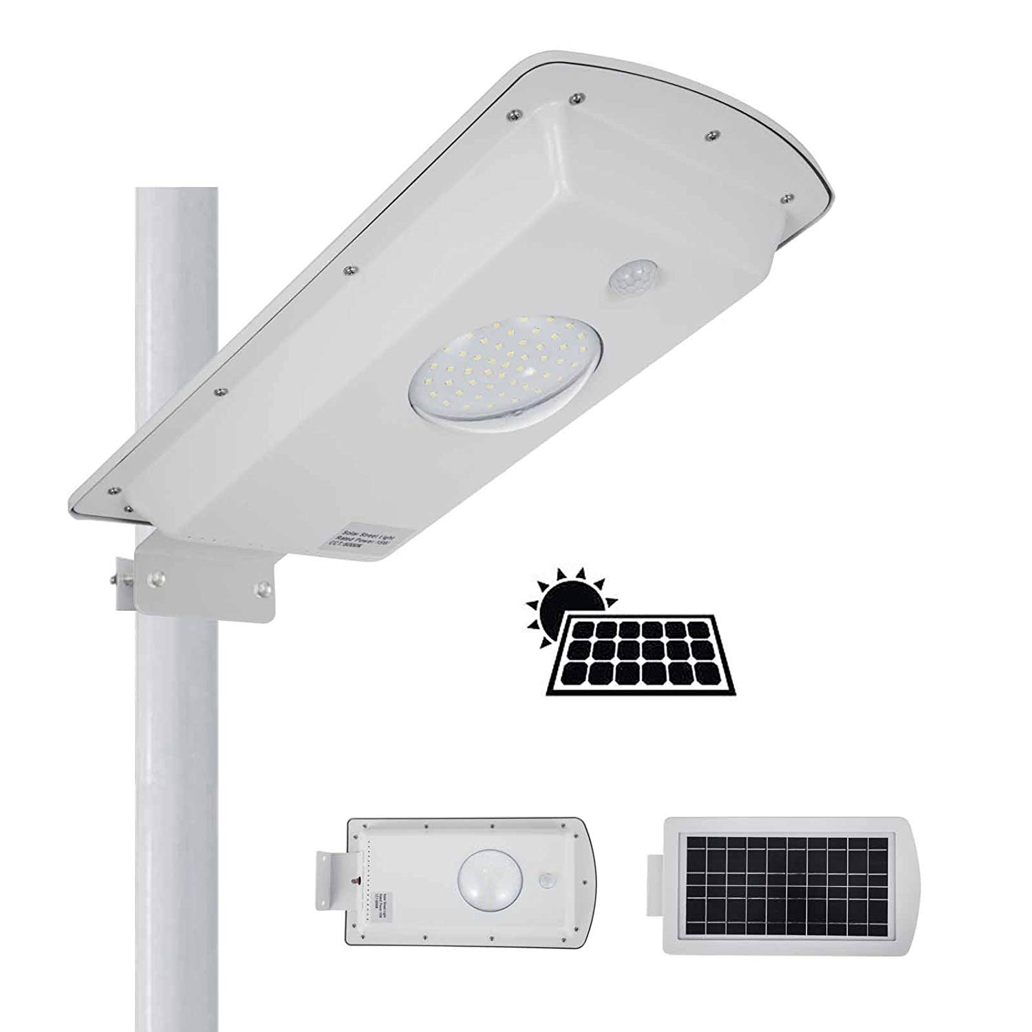VEVOR Solar Street Light Outdoor 10W Solar LED Lights Outdoor 1000 Lumens Waterproof IP65 Solar Street Light CCT 6000K Solar Motion Sensor Light Outdoor Dusk to Dawn with 49 Pcs LED Lamp Beads (10W)