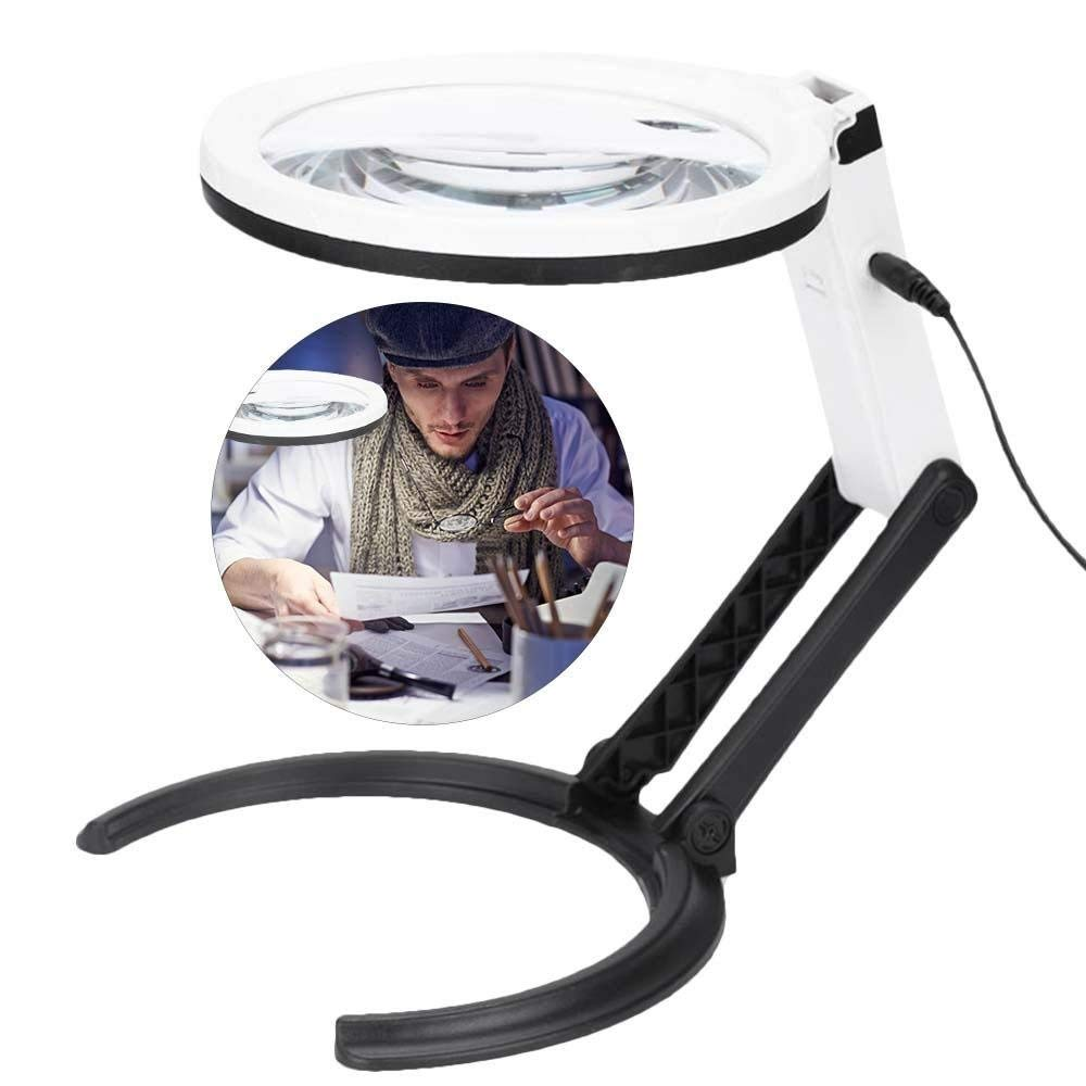 Get Quotations Magnifier Lamp With Light 18 X 5X Folding Design Table LED Lighted Magnifying Glass