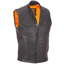 Leather Motorcycle Vest w/ Snap Pockets, Shell: Genuine leather Lining: 100% polyester Full-length zipper hidden by full-snap pl