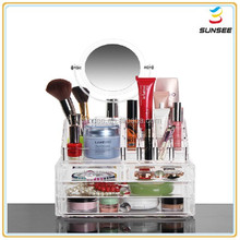 Factory direct supply popular deluxe design beautyful shape clear acrylic makeup organizer with the cover