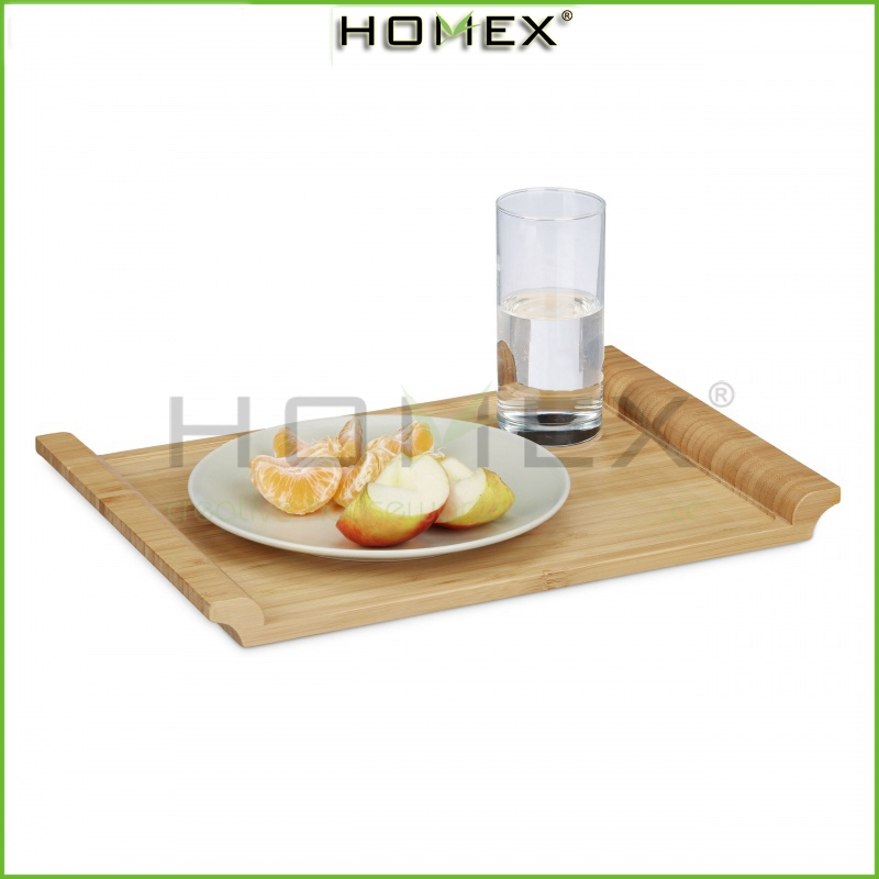 Bamboo Serving Tray with Handles/Decorative rectangular food tray/serve food, coffee or tea, or use as a party platter/Homex