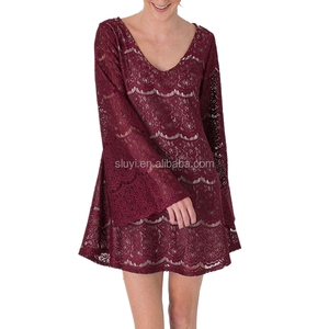 shirt dress ladies fashion clothing red lace overall long bell sleeve crewneck sexy xxl size designs casual puffy prom dresses