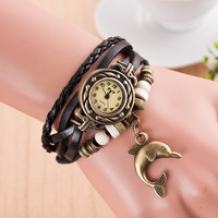 Best Selling Dolphin Pendant Stock PU leather Watch Women