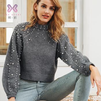 новейший дизайн популярный высокий воротник вязаный свитер женский