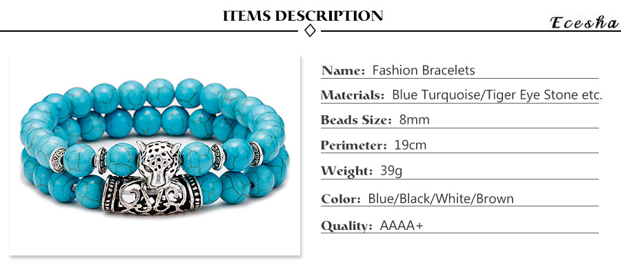 Hot Sales 8mm Green Turquoise Lava Stone Beads Couple Bracelet Sets with Silver Leopard Charms