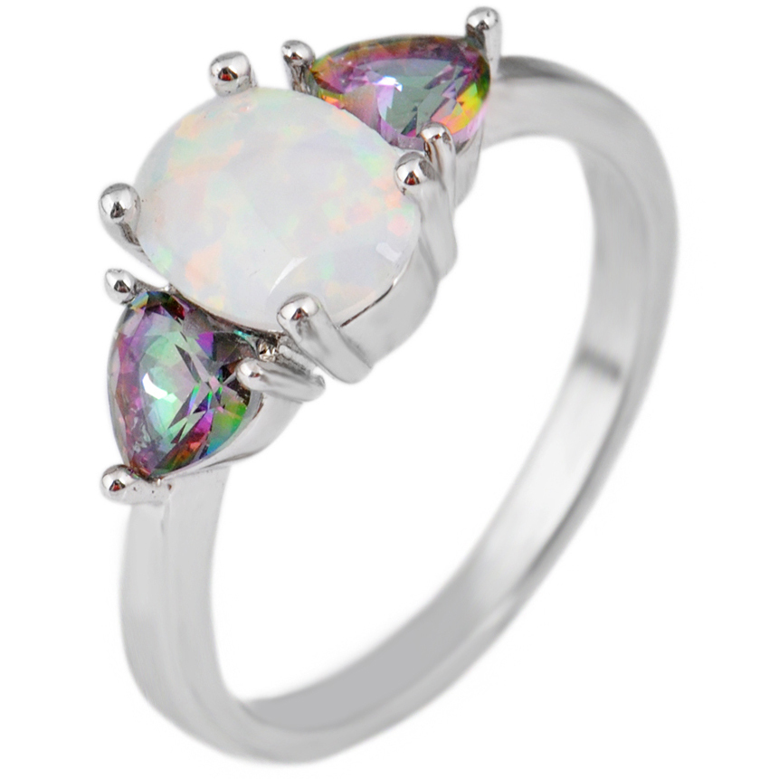 Classic White Fire Opal Stone Rings 10KT White Gold Filled Rings For Women Men Male Jewelry Rings Luxury 6/7/8/9