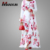 Modern Elegant Women Floral Long Dress 100%polyester Flare Sleeve Muslim Dress Pink Casual Islamic Clothing