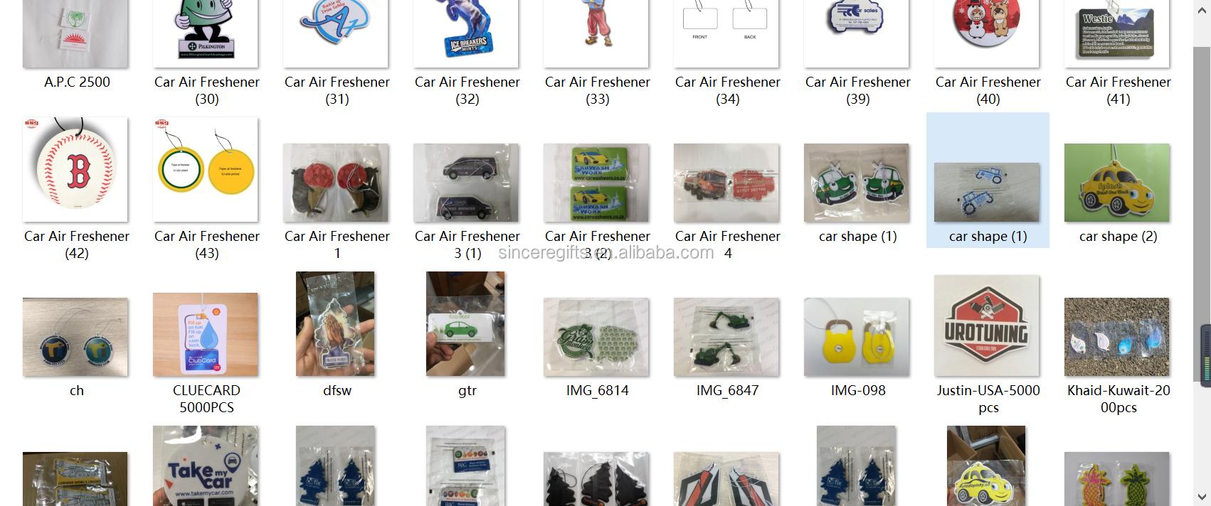 แขวนกระดาษเครื่องฟอกอากาศรถยนต์โลโก้ที่กำหนดเอง
