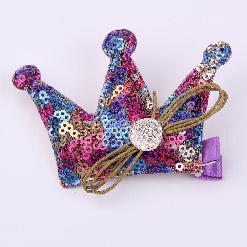 fashion sequin crown girls hair clips hair accessory for party