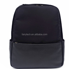 Manufacture wholesale custom fashion genuine leather waterproof nylon computer laptop bag men backpack