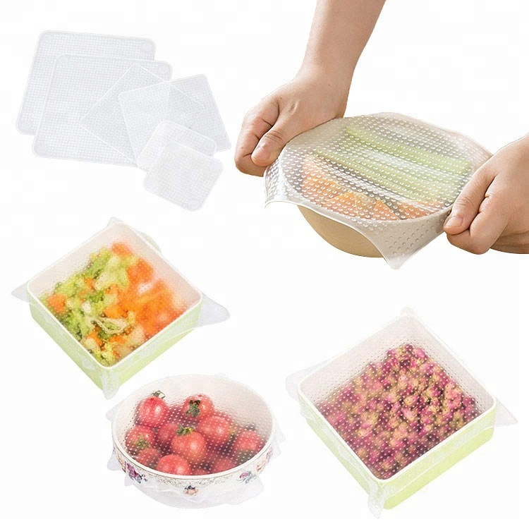 Herbruikbare Stretch Cling Film Transparante Conserveermiddel Grade Siliconen Voedsel Wrap