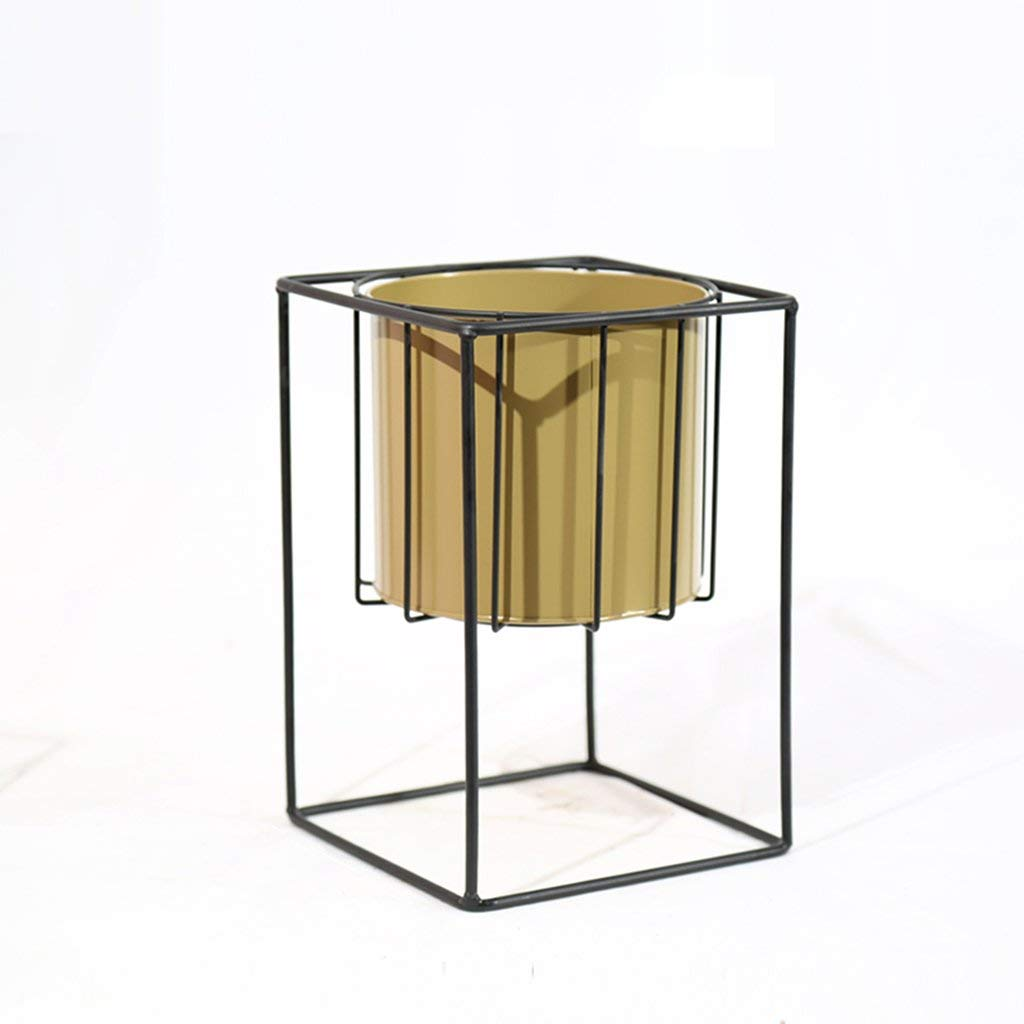 CSQ Desktop Wrought Iron Flower Stand, Black Color Golden Color Iron with Flower Pot Living Room/Bedroom/Study/Dining Room Green Plant (Size : A)