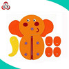 Early Learning Learn to Dress Cartoon Elephant felt toy with Button and Zipper