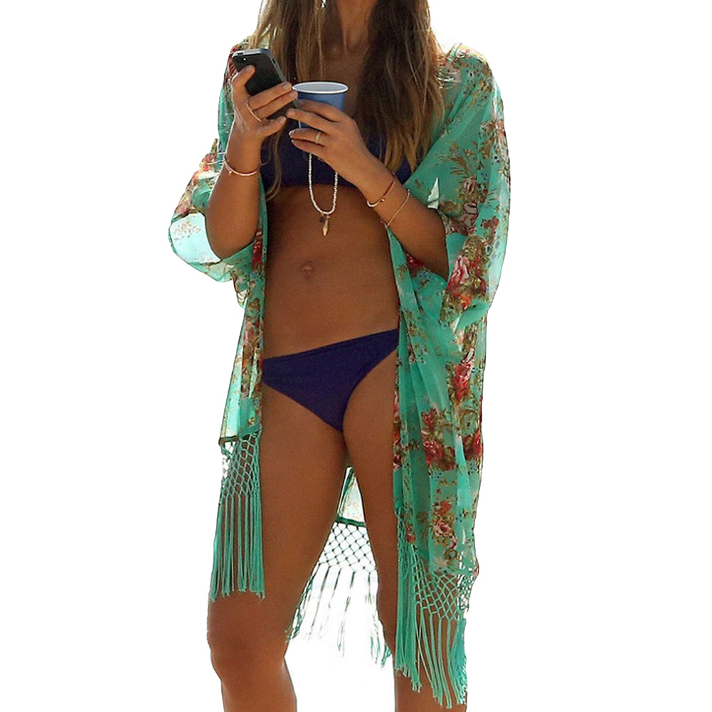 bc49d52006 Get Quotations · Sexy Women swim suit cover up Floral Print Tassels Chiffon  Semi-sheer bathing suit cover