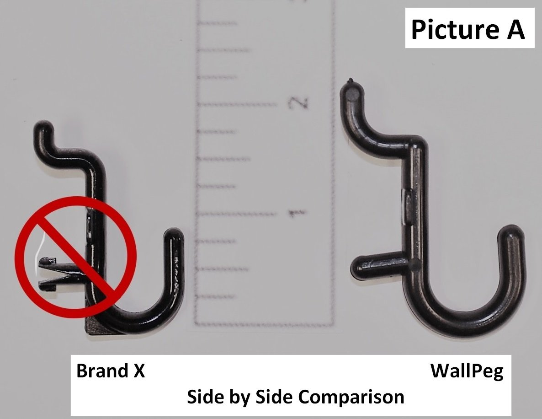 WallPeg Pegboard Hooks - 100 pk. Flex-Lock J Style for Peg Board Tool Organizer - AM 114 B