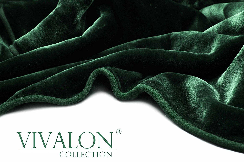 VIVALON Solid Color Ultra Silky Soft Heavy Duty Quality Korean Mink Reversible Blanket 9 lbs King Hunter Green