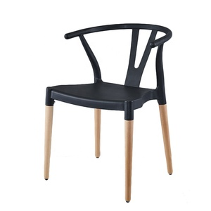 Cheap Durable dining room furniture vintage black Plastic Wishbone Y dining chair Solid Ash Wood legs hans wegner wishbone chair