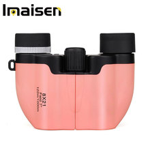 8x21 Binoculars Kids Compact Porro Prism Travel for Children Telescope Pink Christmas Gift