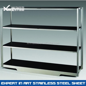 201 mirror polished stainless steel display shelf and racks