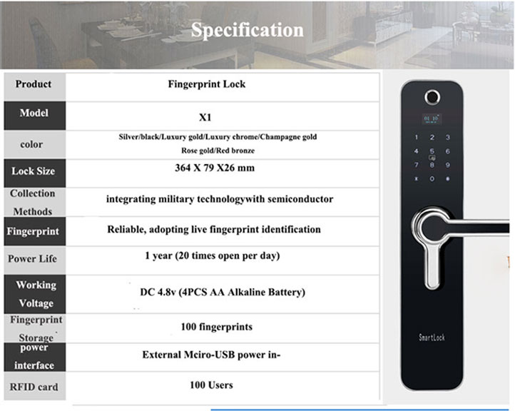 Bluetooth biometric fingerprint smart digital door lock  VOLIBEL