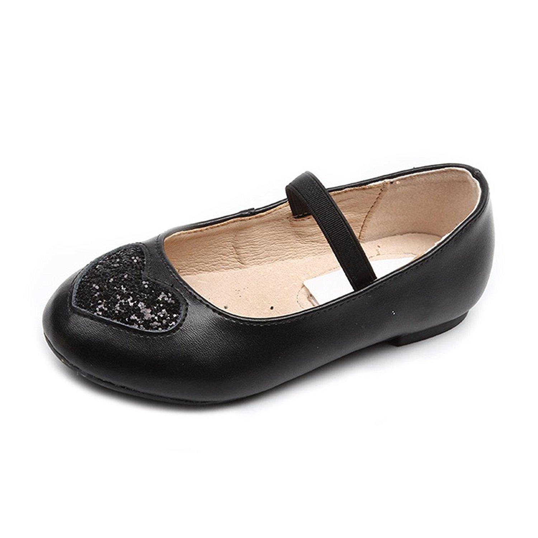 06609ebaa3c CYBLING Girls Glitter Heart Dress Ballet Flats Elastic Strap Slip-On Mary  Jane Shoes (