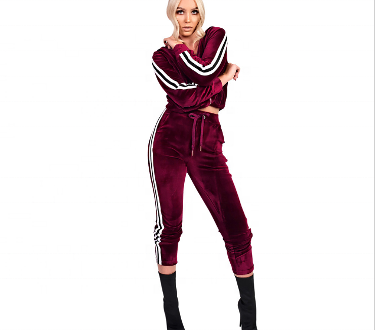 Ladies velour leisure suits pink jogging sweater suits 2017 фото